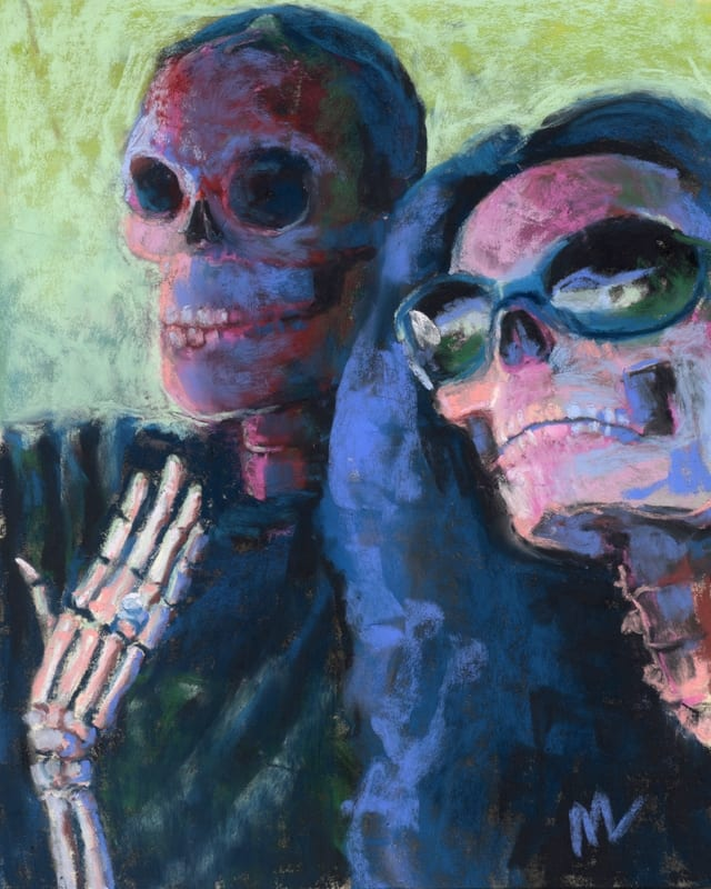 pastel painting of 2 skulls just getting engaged