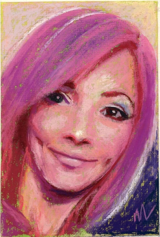 Pastel portrait of a pretty young woman with pink hair