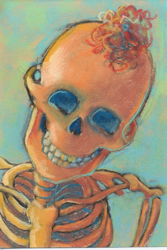 pastel painting of a child's skeleton