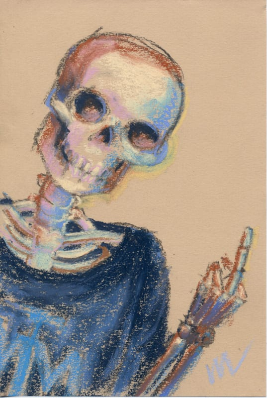 pastel drawing of a skeleton flipping the bird