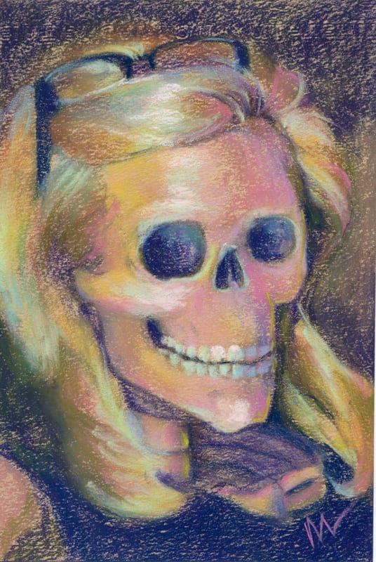 Pastel skull portrait with blonde hair