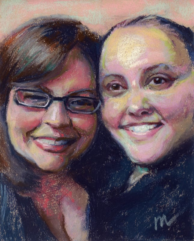 pastel painting of two women smiling