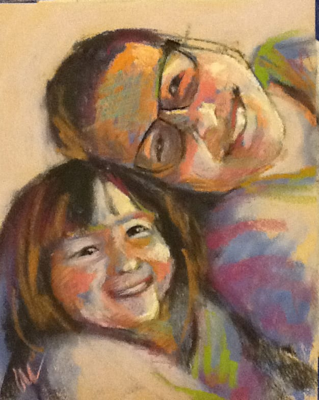 pastel painting of two young people