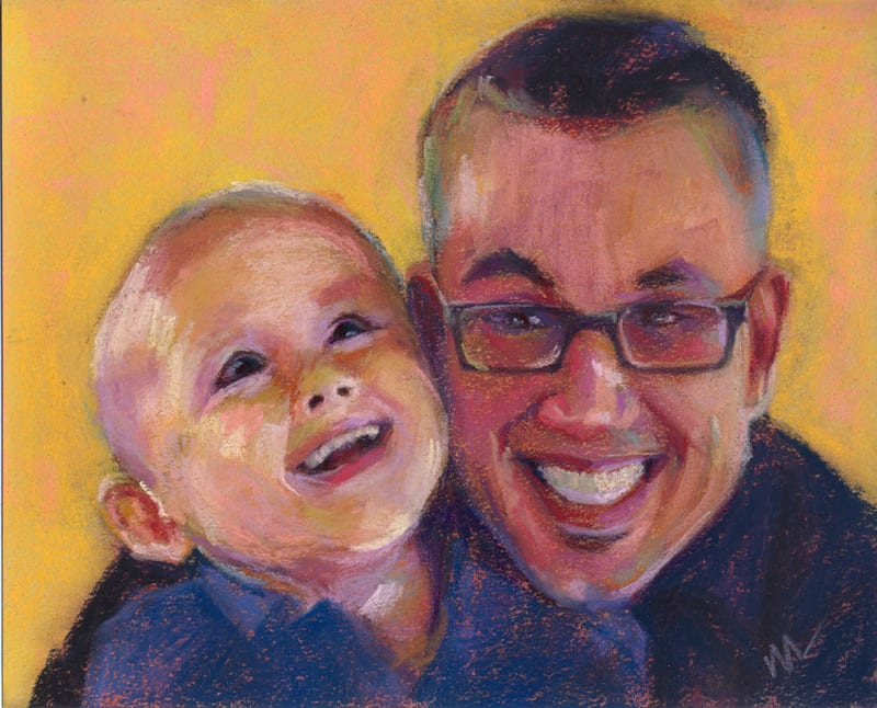 pastel painting of a dad and his son