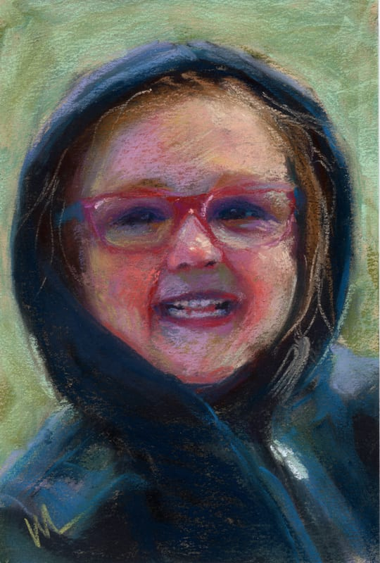 pastel portrait of a smiling little girl