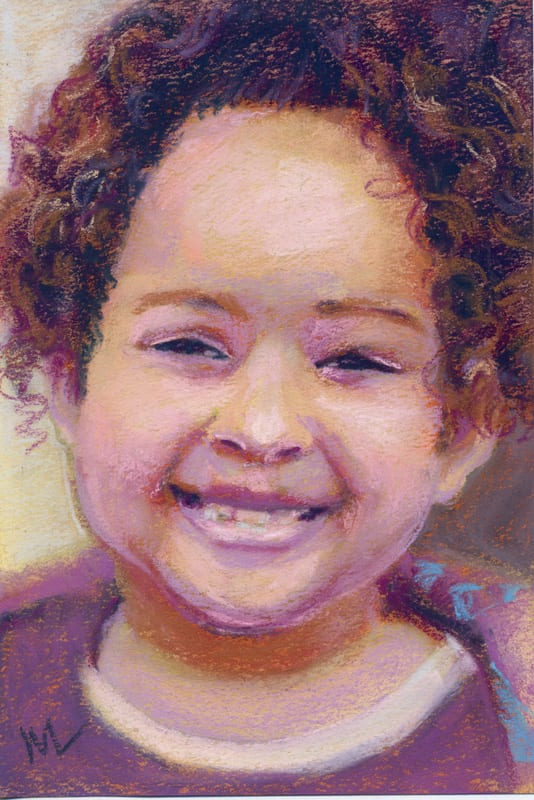 pastel painting of a smiling girl