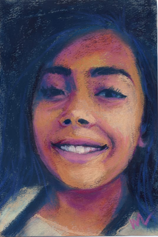 pastel painting of a smiling young girl