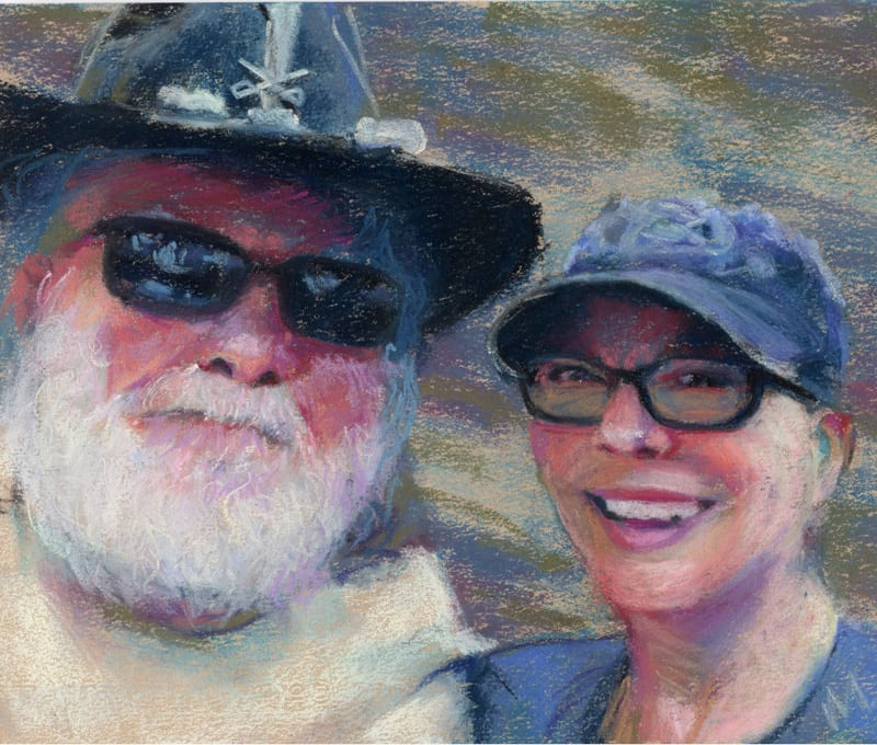 pastel painting of a man and woman, smiling