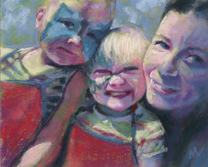 pastel painting of a woman and her daughters