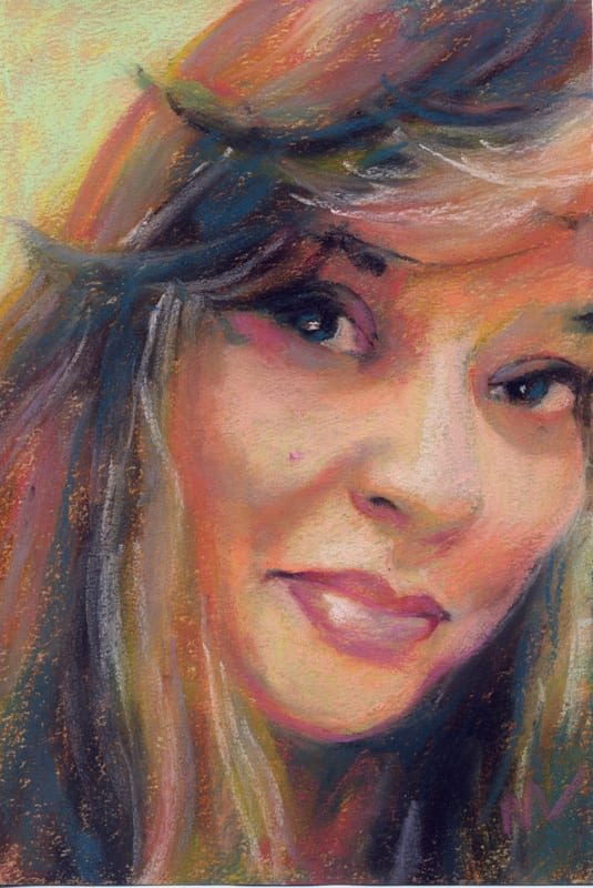 pastel painting of a smiling woman