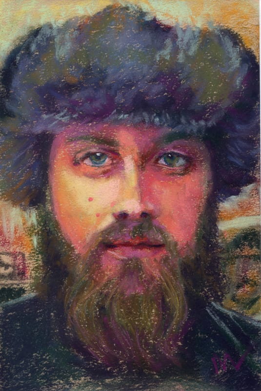 pastel painting of a man in a russian hat