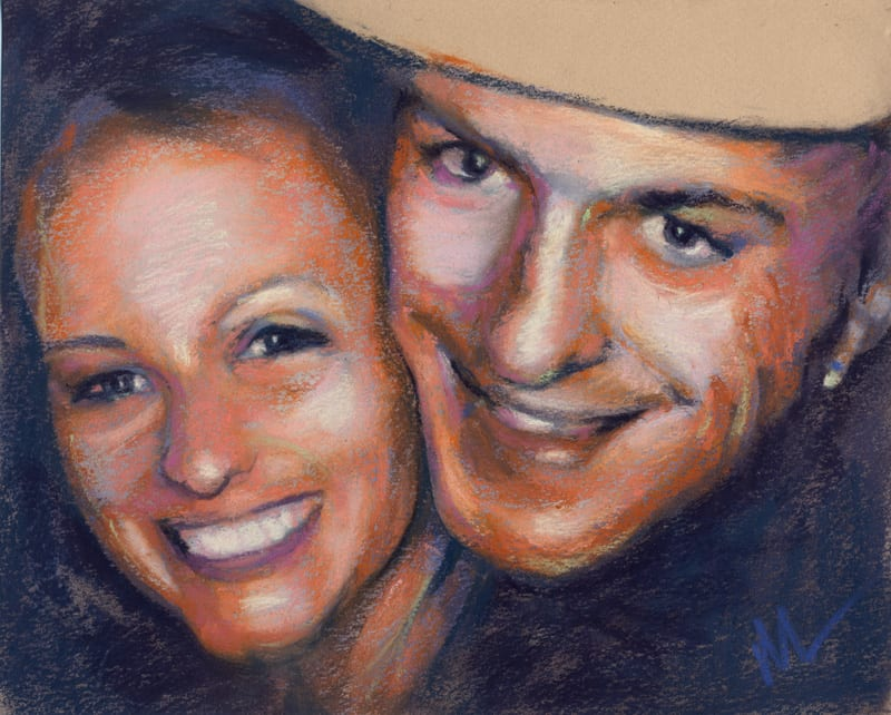 pastel portrait of a smiling couple