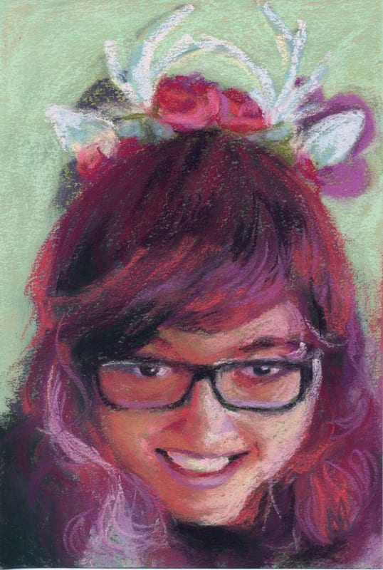 pastel painting of a smiling woman with antlers on her head