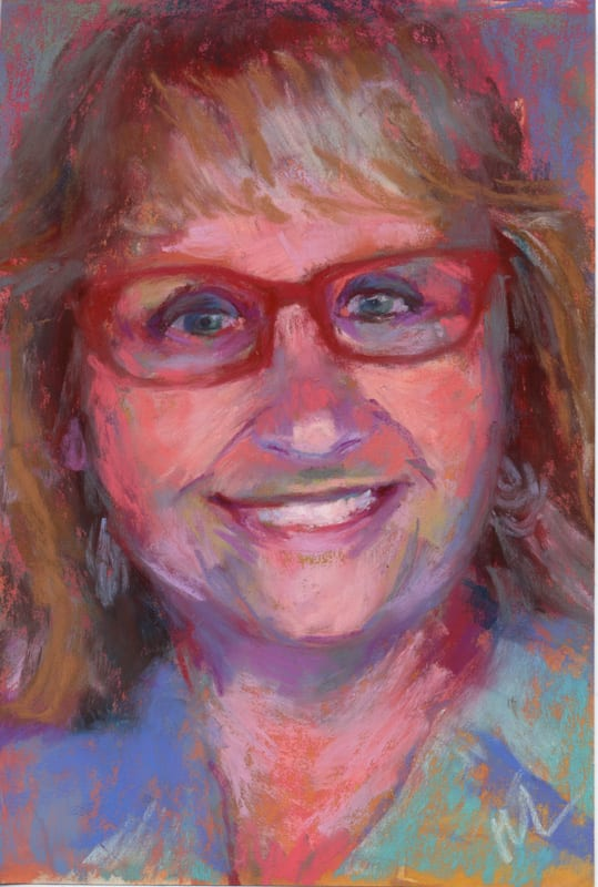 pastel portrait of a smiling woman with red glasses