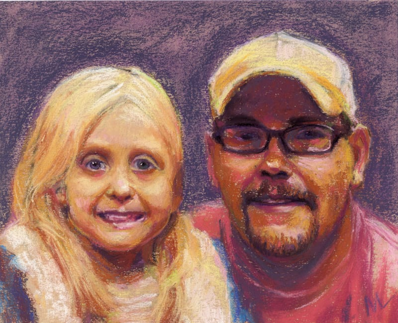 pastel portrait of a young girl and her dad