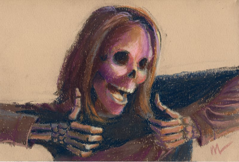pastel portrait of a skull showing two thumbs up