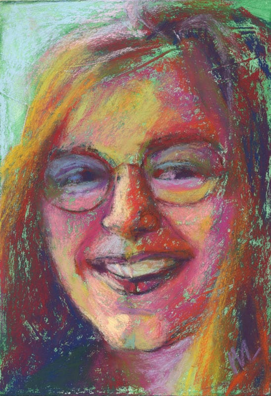 pastel painting of a young woman