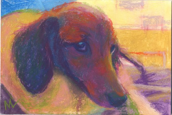 pastel painting of a dachshund puppy dog