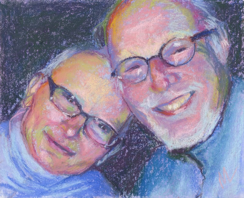 pastel painting of a couple