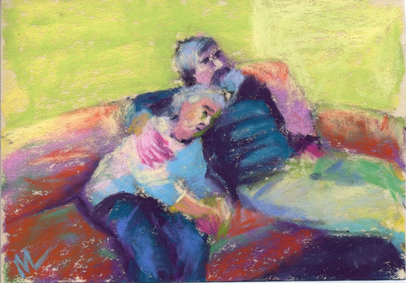 pastel study of a man and his mother