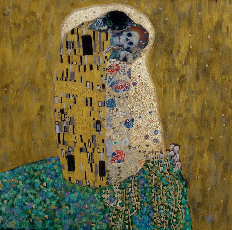 skeleton art parody of Klimt's The Kiss