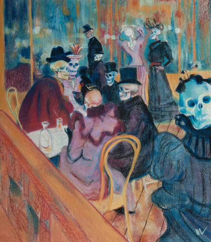 au moulin rouge with skeletons homage to toulouse-lautrec