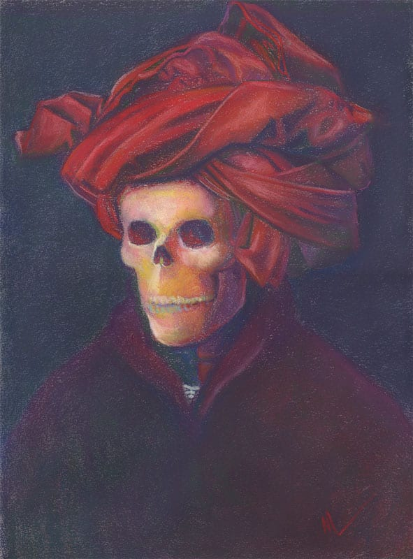 Skeleton in a red turban, homage to Jan Van Eyck's Man in a Red Turban, Old (Dead) Masters series at ArtPrize Nine.
