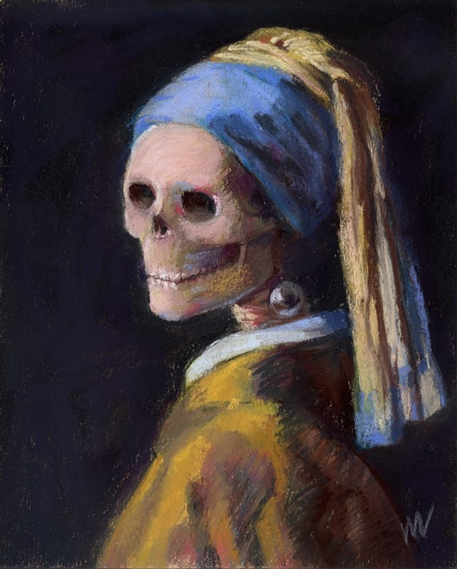 parody painting of Vermeer's Girl with a Pearl Earring, Old (Dead) Masters series at ArtPrize Nine.