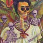 Pastel spoof of Frida Kahlo self portrait with skeletons