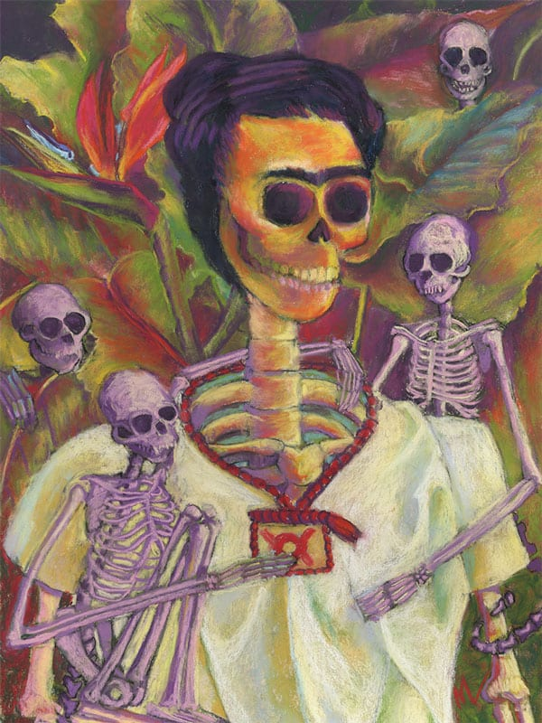 Pastel spoof of Frida Kahlo self portrait with skeletons