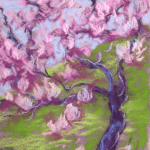 Pastel painting of a tree with pink blooms