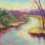 pastel painting of a bed in the river