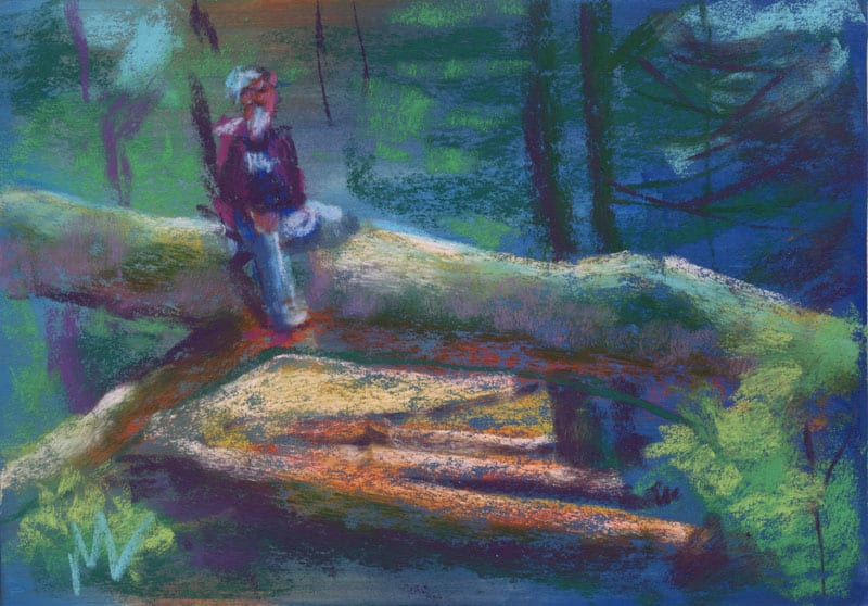 pastel painting of a man on a log in the forest