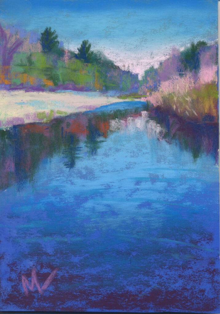 pastel painting of a small lake