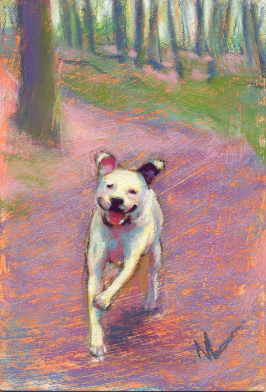 """Marie Marfia, I'm Gonna Run to You, soft pastel on textured board, 9x6""""."""