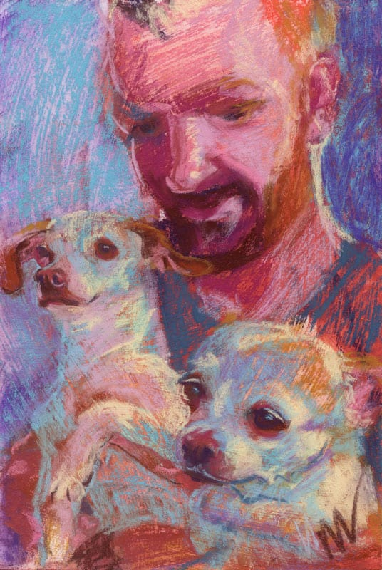 pastel painting of a red headed man and two ginger spotted chihuahuas