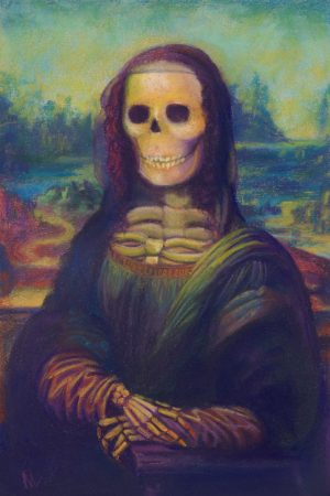 pastel painting of the Mona Lisa with a skeleton