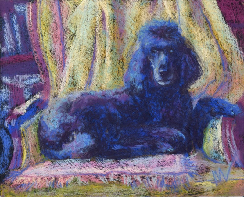 "Marie Marfia, Ella, soft pastel on textured black gator board, 10x8""."