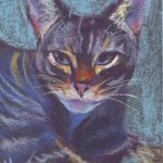 Tiny cat pastel painting