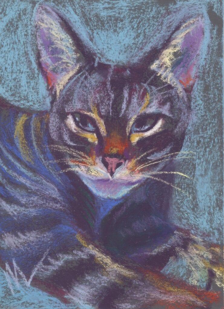 Tiny cat pastel painting