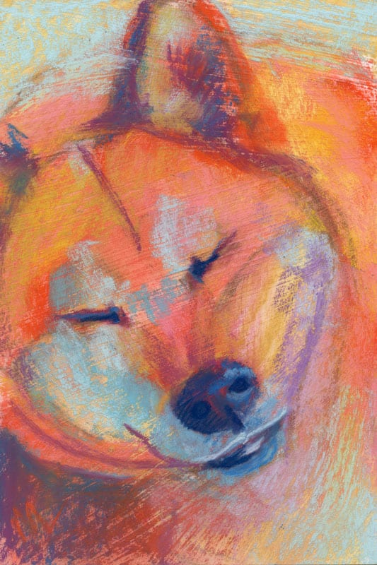 """Marie Marfia, No Bork Today, soft pastel on textured board, 9x6""""."""