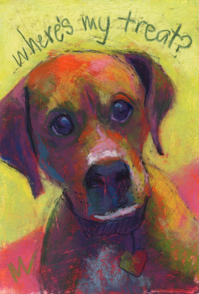 """Marie Marfia, Where's My Treat?, soft pastel on textured board, 9x6""""."""
