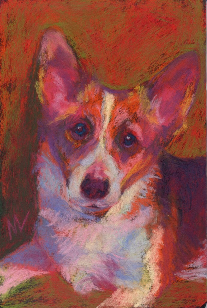 """Marie Marfia, You're My Favorite, soft pastel on textured board, 9x6""""."""