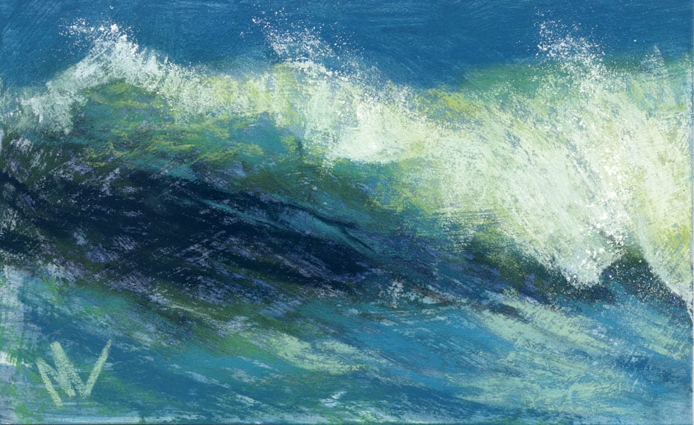pastel painting of a wave breaking