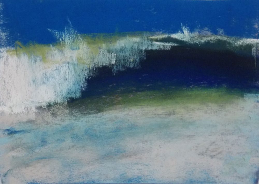 """Marie Marfia, Wave Painting No. 130, soft pastel on sanded paper, 5x7""""."""