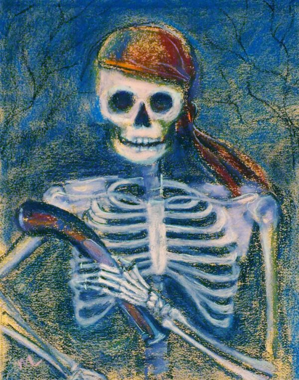a pirate and her pistol, pastel painting of a skeleton dressed as a pirate holding a pistol by the barrel