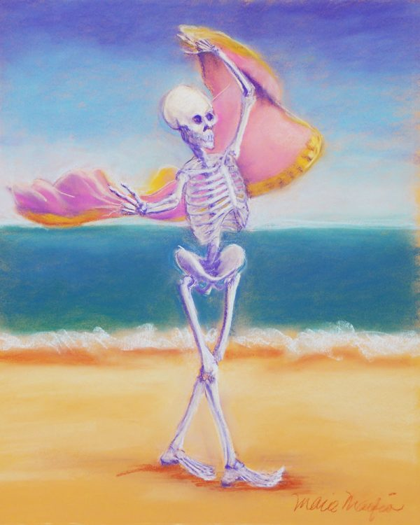 skelly dancer no. 3 pastel painting of a belly dancing skeleton on the beach