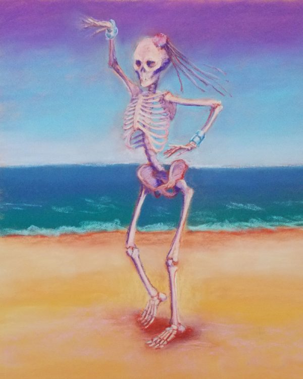 skelly dancer no. 4 pastel painting of a skeleton belly dancing on the beach