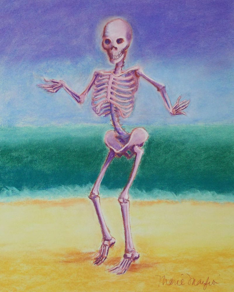 skelly dancer no. 5 pastel painting of a skeleton belly dancing on the beach