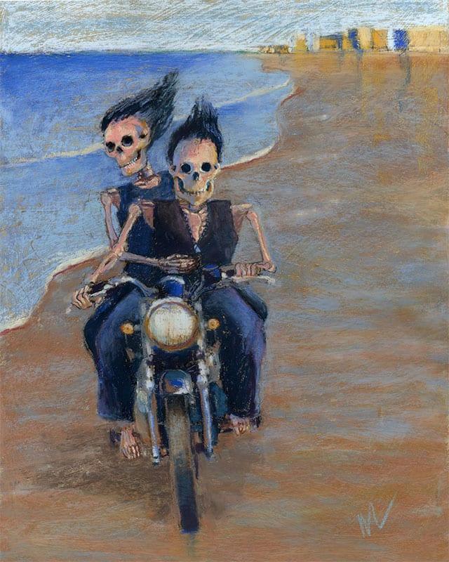 "Marie Marfia, Bone to be Wild, soft pastel on gessoed gator board, 20x16""."